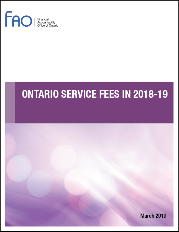 Ontario Service Fees in 2017-18